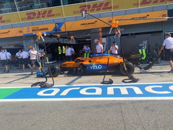 The McLaren Racing pit lane
